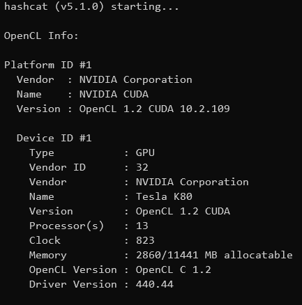 Hashcat detecting GPUs - Cracking hashes in the cloud